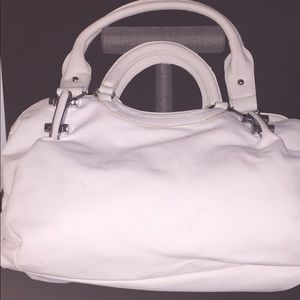 White Leather Shoulder Bag/Purse w/ Double handle